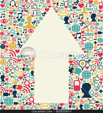 Social media arrow texture stock vector clipart, Social media icons set texture with arrow shape composition background.  by Cienpies Design