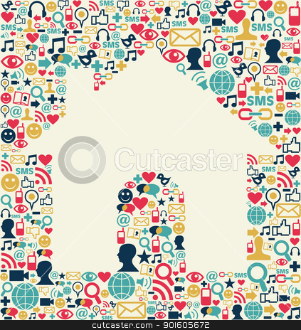 Social media house texture stock vector clipart, Social media icons set texture with house shape composition background.  by Cienpies Design