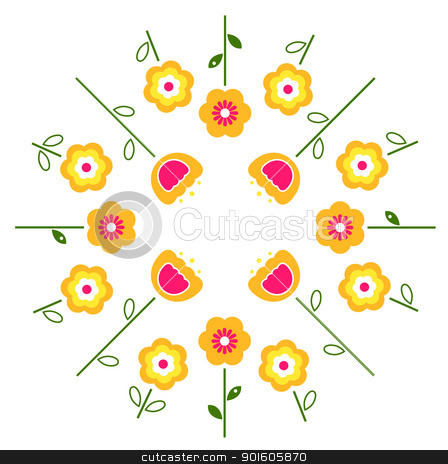 Stylized retro vector flowers in circle ( yellow ) stock vector clipart, Yellow and pink flowers in circle isolated on white. Vector by BEEANDGLOW