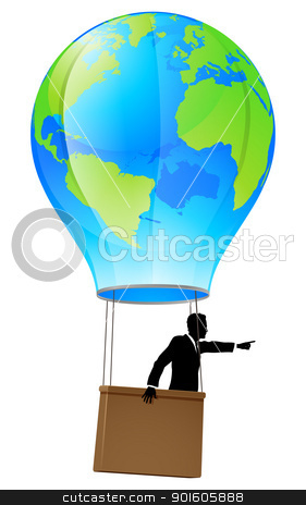 Moving forward business concept stock vector clipart, Conceptual illustration of a business man in a business suit in a hot air balloon with a world globe on it pointing forward and going ahead. by Christos Georghiou