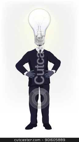 Ideas man stock vector clipart, A businessman with a light bulb for a head. Conceptual illustration for a business man having a bright idea or doing smart business by Christos Georghiou