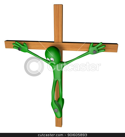 crucifixion stock photo, green guy nailed on wooden cross - 3d illustration by J?