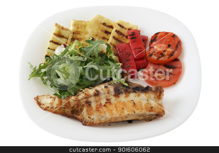 fried fish with vegetables stock photo, fried fish with vegetables by nataliamylova