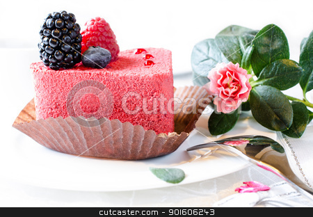 Red cake with berries stock photo, Red cake with berries and pink flower by Nanisimova
