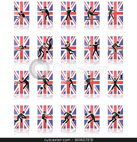 UK sport icons stock vector clipart, Collection of different sport icons over a United Kingdom flag and reflected over a white surface by Bruno Marsiaj