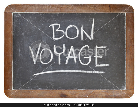 bon voyage on blackboard stock photo, bon voyage - travel or farewell concept - white chalk handwriting on isolated vintage slate blackboard by Marek Uliasz