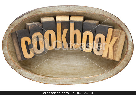 cookbook in wooden bowl stock photo, cookbook - word in vintage letterpress type in wooden dough bowl by Marek Uliasz