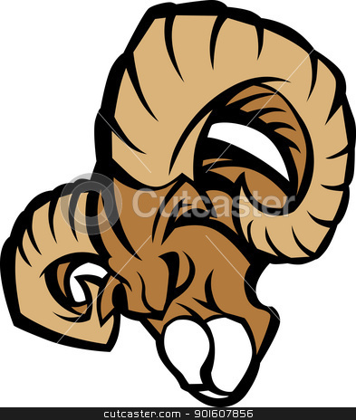 Ram Mascot Graphic Vector Illustration stock vector clipart, Ram Graphic Mascot Head with Horns by chromaco