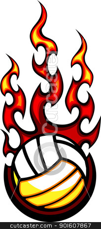 Volleyball Flaming Ball Vector Illustration stock vector clipart, Flaming Volleyball Ball Vector Image burning with Fire Flames by chromaco