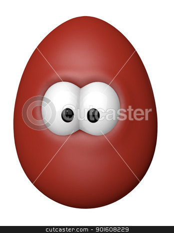funny easter egg stock photo, easter egg with comic eyes - 3d cartoon illustration by J?