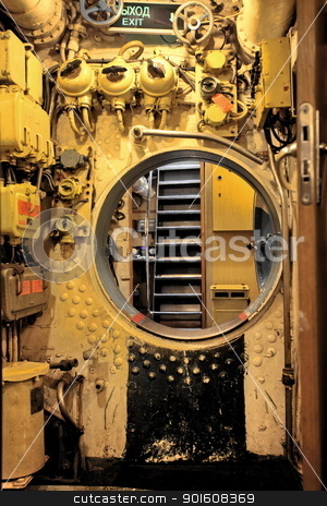 aboard submarine  stock photo, Main command post of the Russian submarine S189 by mrivserg