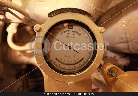 Aneroid barometer stock photo, Aneroid barometer on board the submarine by mrivserg