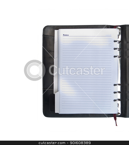 Leather organizer stock photo, Luxurious deep brown leather organizer on white background by Exsodus