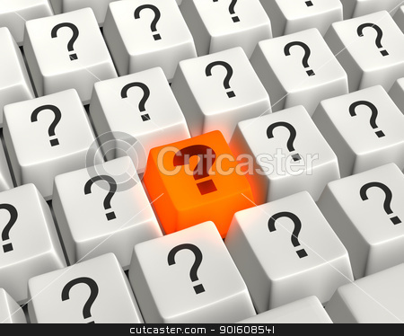 A Burning Question stock photo, Close up photo-real illustration of a computer keyboard with an orange, glowing question key surrounded by white question mark keys. by Mark Carrel