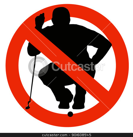 Golf Player Silhouette on Traffic Prohibition Sign stock photo, No Golf Allowed on Traffic Prohibition Sign by Snap2Art