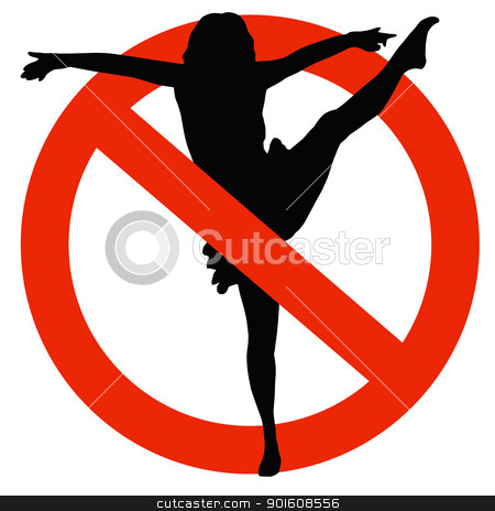 Dancer Silhouette on Traffic Prohibition Sign stock photo, No Dancing Allowed on Traffic Prohibition Sign by Snap2Art