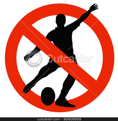 Rugby Player Silhouette on Traffic Prohibition Sign stock photo, No Rugby Allowed on Traffic Prohibition Sign by Snap2Art