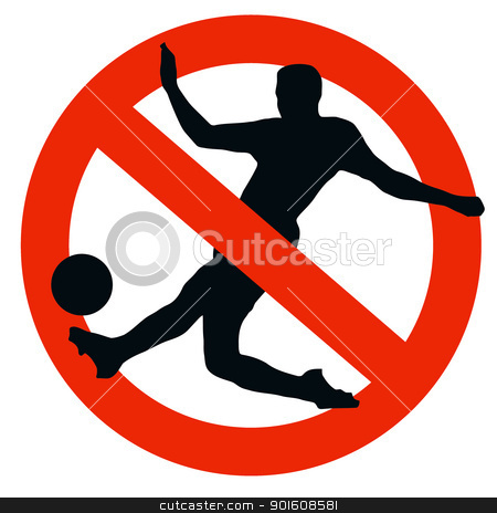 Soccer Player Silhouette on Traffic Prohibition Sign stock photo, No Soccer Allowed on Traffic Prohibition Sign by Snap2Art