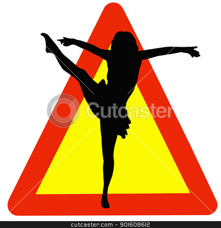 Dancer Silhouette on Traffic Warning Sign stock photo, Warning Dancing Allowed Here on Traffic Sign by Snap2Art