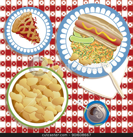 Summer Picnic stock vector clipart, An illustration of a typical American picnic or barbeque complete with hot dog and bun, pickles, cole slaw, potato chips, soda, and to finish, a fruit pie. The tablecloth pattern repeats seamlessly. Vector file: Elements are grouped and on separate layers for easy editing. by Lisa Fischer