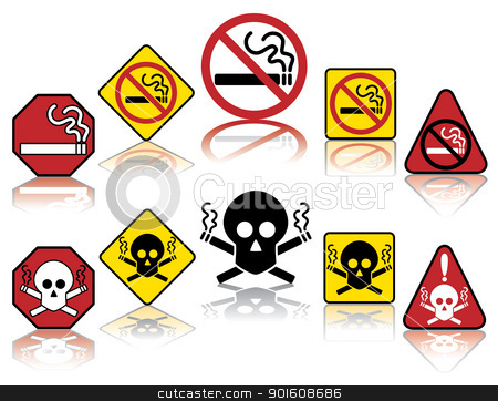 No Smoking Icons stock vector clipart, Vector collection of ten no smoking icons with reflections. by Lisa Fischer