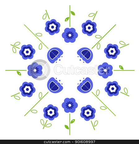 Stylized retro vector flowers in circle ( blue ) stock vector clipart, Blue flowers in circle isolated on white. Vector by BEEANDGLOW