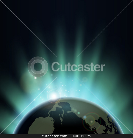 Sunburst over the world globe stock vector clipart, Sun light bursting over the earth at sunrise or sunset. Background with copy space, America in foreground.  by Christos Georghiou