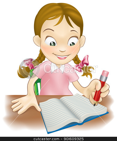 Young girl writing in a book stock vector clipart, Illustration of a young girl sat at her desk writing in a book   by Christos Georghiou