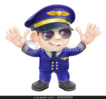 Cartoon airplane pilot  stock vector clipart, Illustration of a cute happy airplane pilot wearing sunglasses and waving  by Christos Georghiou