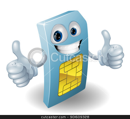 Thumbs up phone sim card person stock vector clipart, Illustration of a happy phone sim card person doing a thumbs up by Christos Georghiou