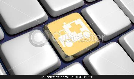 Keyboard (detail) with ambulance key stock photo, Keyboard (detail) with ambulance key - 3d made  by Fabrizio Zanier