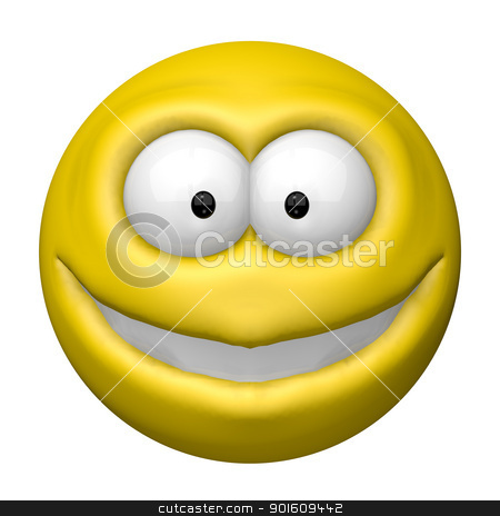 smile stock photo, happy cartoon smiley - 3d illustration by J?