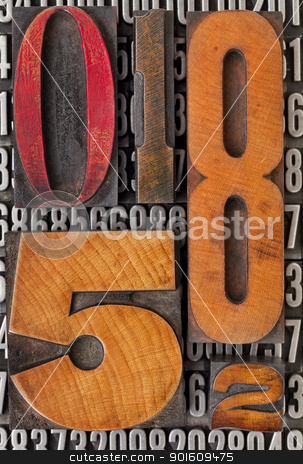 number abstract in letterpress type stock photo, number abstract - vintage  letterpress wood type stained by color ink over metal typeset by Marek Uliasz