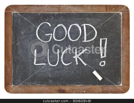 good luck on blackboard stock photo, good luck - white chalk handwriting on isolated vintage slate blackboard by Marek Uliasz