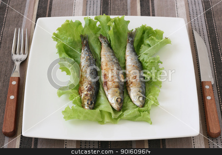 fried sardines stock photo, fried sardines by nataliamylova