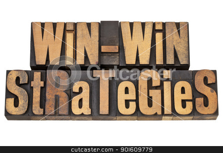 win-win strategies stock photo, win-win strategies - negotiation or conflict resolution concept - isolated words in vintage wood type by Marek Uliasz