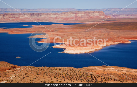 Wahweap Bay Red Rocks Lake Powell Glen Canyon Recreation Area Ar stock photo, Wahweap Bay Red Rocks Blue Lake Powell Glen Canyon Recreation Area Arizona by William Perry