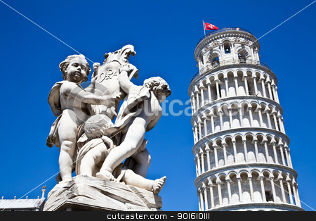 Leaning tower of Pisa stock photo, Italy - Pisa. The famous leaning tower on a perfect blue bakcground by Perseomedusa