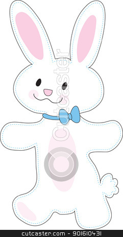 Bunny Cut Out stock vector clipart, A cute, smiling bunny with pink accents, is presented as a cut-out image from a child's craft project. by Maria Bell