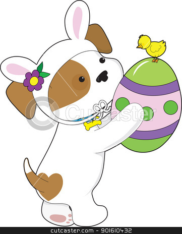 Cute Puppy Easter Egg stock vector clipart, A cute puppy dressed in an Easter bunny suit, is holding a painted egg with a chick sitting on top. by Maria Bell
