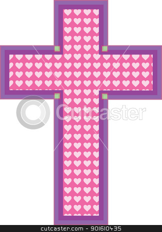 Heart Cross stock vector clipart, A pink color cross has heart cutouts in a paler shade of pink, with a mauve and purple color border. by Maria Bell