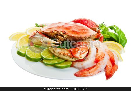 Crab platter stock photo, Platter of crab and lobster tails,shrimp, Focus on the crab. by Steve Mcsweeny
