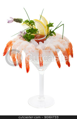 Iced shrimp cocktail stock photo, Chilled Shrimp cocktail on a white background by Steve Mcsweeny