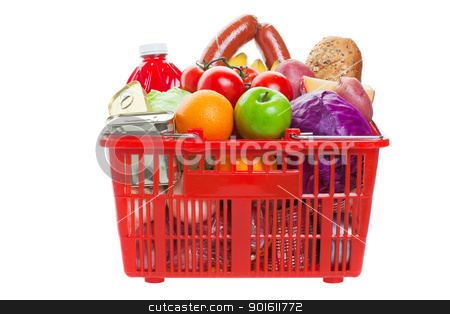 Shopping basket stock photo, A shopping basket full of fresh colorful vegetables and fruit isolated on white background   by Steve Mcsweeny