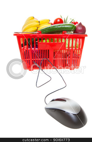 Online shopping  stock photo, Grocery basket with Computer Mouse, concept of online shopping   by Steve Mcsweeny