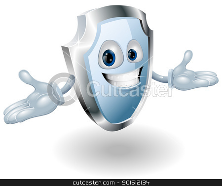 Shield security character mascot stock vector clipart, Illustration of a smiling shield security character mascot by Christos Georghiou