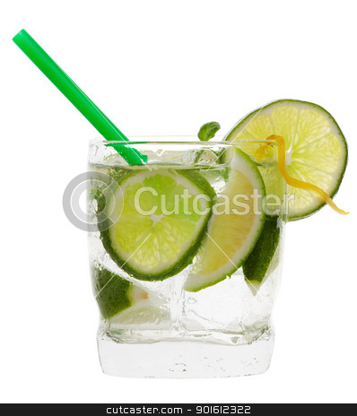 Lime cocktail stock photo, mojito cocktail drink with lime isolated on a white background  by Steve Mcsweeny
