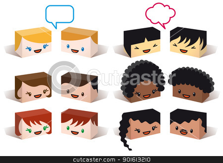diversity avatars, vector stock vector clipart, diversity avatars, multiethnic vector people icon set by Beata Kraus