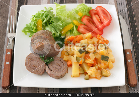 meat rolls with salad stock photo, meat rolls with salad by nataliamylova