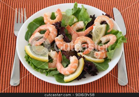 salad with shrimps stock photo, salad with shrimps by nataliamylova